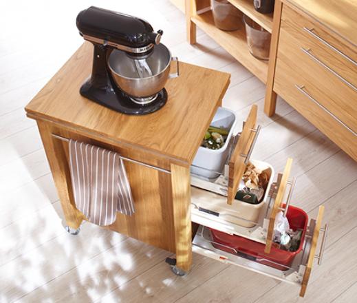 Küchenwagen zenith Kernbuche mit Granit sardena