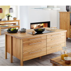 Kücheninsel IG 4.3 mit Kochfeld und rückseitigem Sideboard